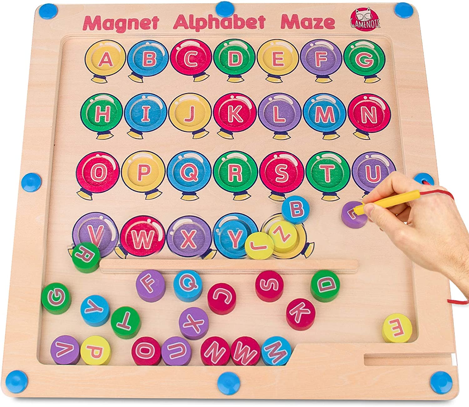 26 Double Sided Wooden Fish with 2 Magnet Poles for Letter Recognition and Learning Gamenote Magnetic Alphabet Fishing Game for Toddlers Activity Guide Include