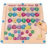 Gamenote Magnetic Alphabet Maze Board, Wooden Matching Letter Game Montessori Toys for Preschool Kingdergarten - Fine…