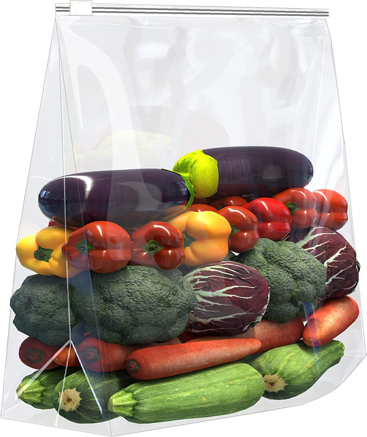 [ 20 COUNT ] -3.5 MILL - super big bag x- large thick plastic bag - EXPANDABLE BOTTOM - SLIDER TOP - 5 GALLON SIZE - 3.5 MILL - for food, freezer, travel, organizaton, storage, moving, etc,