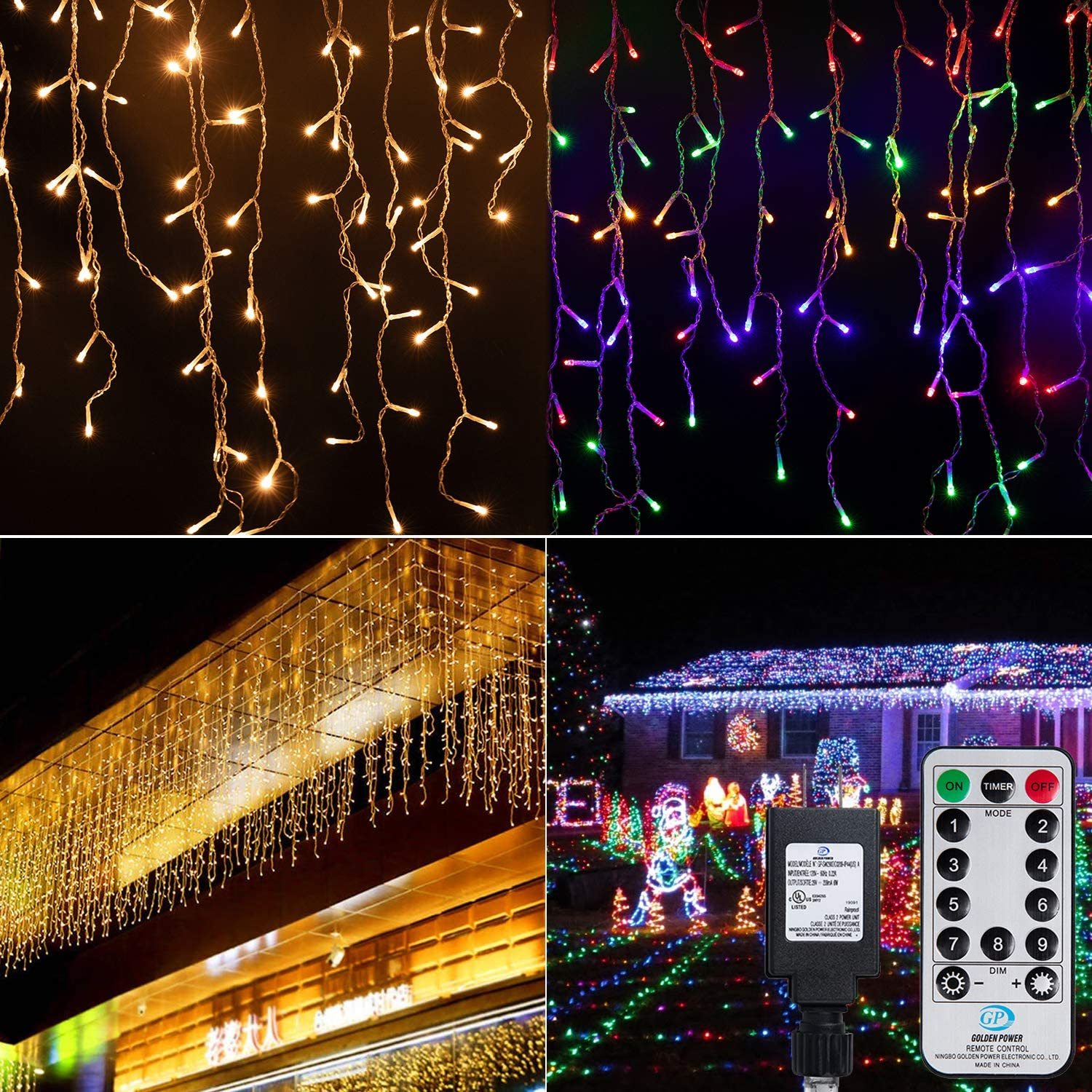 Color Changing Icicle Christmas Lights Outdoor, 19.6 Feet 306 Led Fairy Curtain Twinkle String Lights with Remote, Timer, Hanging Indoor Window Holiday Time Decorations Outside, Warm and Multicolor