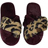 takestop® Pantofole Ciabatte Aperte Peluche Leopardato maculato MORBIDE Calde COMODE Antiscivolo Peluche Fashion Stile Idea Regalo Invernali