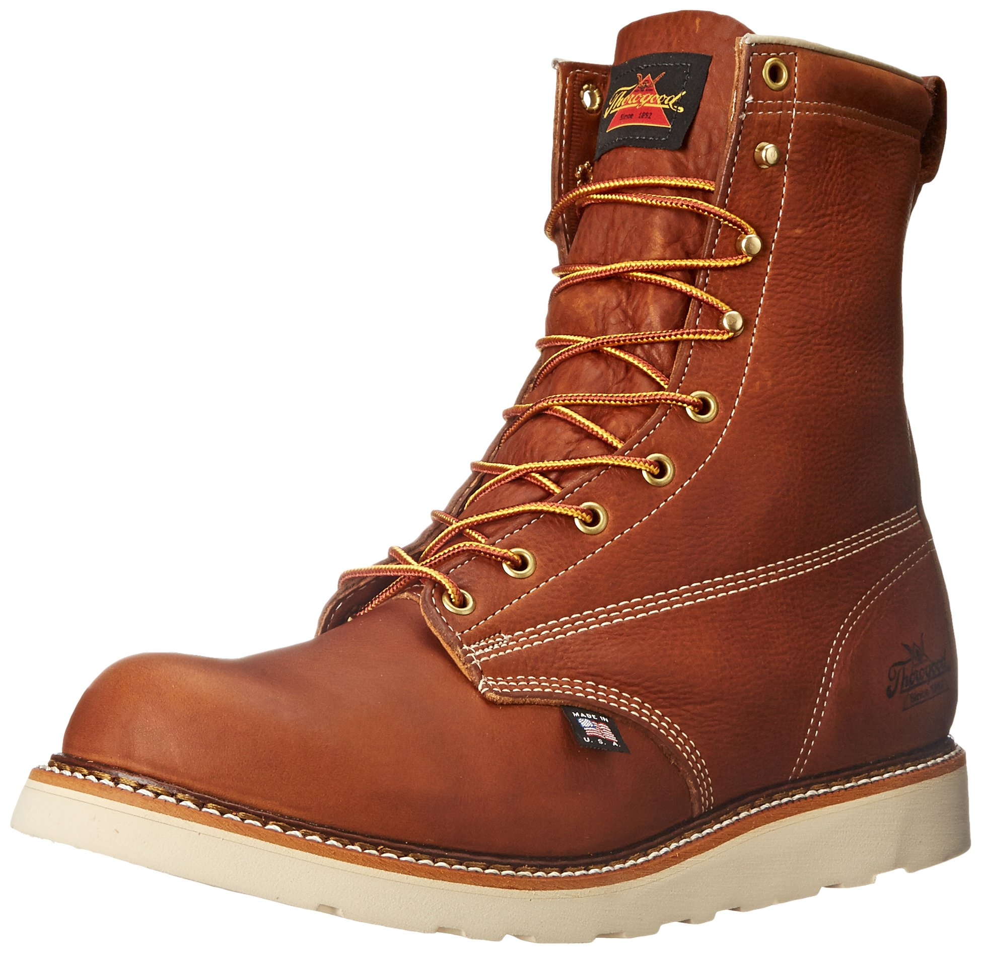 Thorogood American Heritage 8'' Plain Toe Boot, Tobacco Gladiator, 9.5 D US