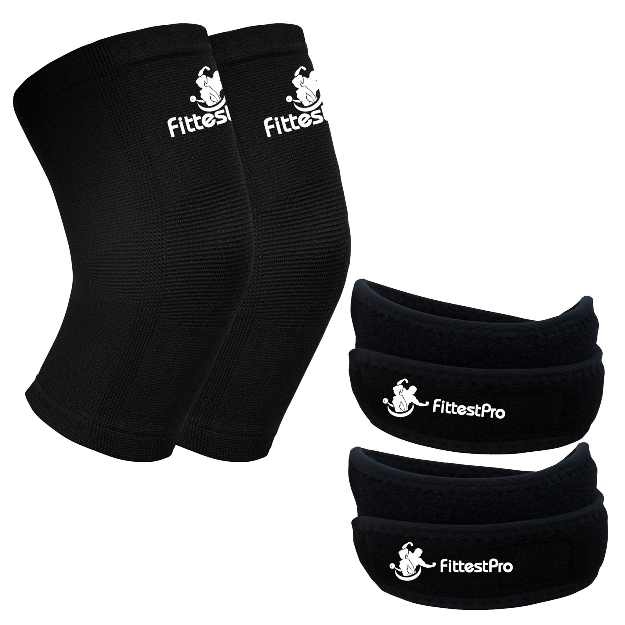 Knee Sleeve Package (Pack of 4) - Knee Compression Sleeve (1 Pair) & FREE Knee Braces (1 Pair) - Patella Knee Support Straps Sleeves - Knee Arthritis Brace & Pain Relief Strap
