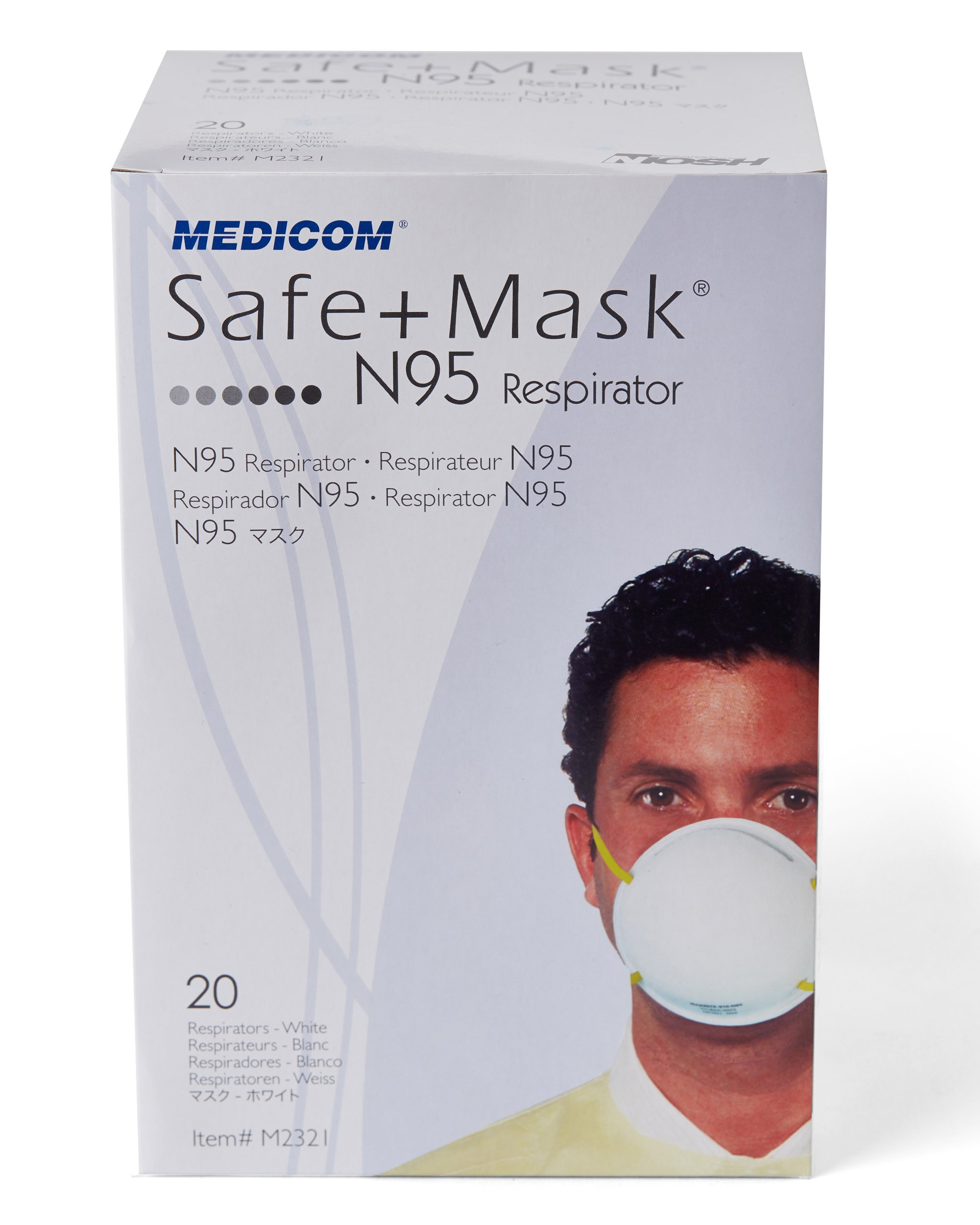 SafeMask White Cone N-95 Particulate Respirator Mask With Adjustable Elastic And Maximized Air Chamber For Comfortable Breathing (20)