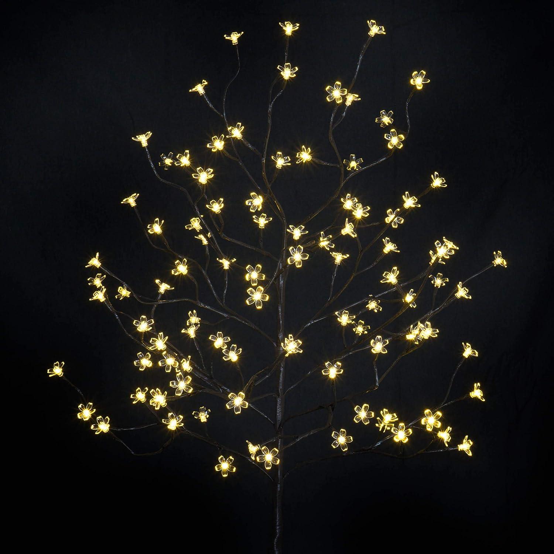 Weihnachtsbeleuchtung Led Baum.96 Led Baum Mit Blüten Blütenbaum Lichterbaum Warm Weiß 150 Cm Hoch