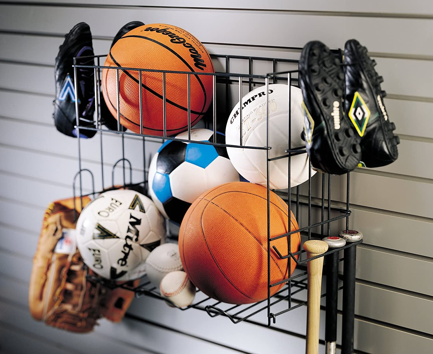 Organized Living Activity Organizer Sports Rack With Basket   Garage Storage  And Organization Systems   Amazon.com