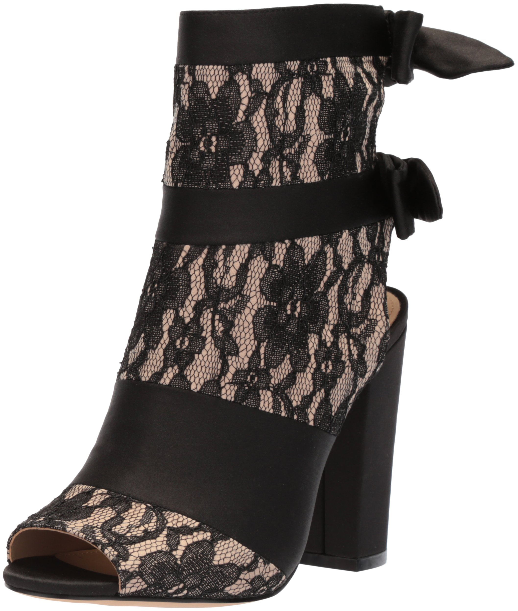 The Fix Women's Phoebe Open Toe Block Heel Bootie with Bow Detail Ankle Boot, Black/Nude Lace, 8.5 B US