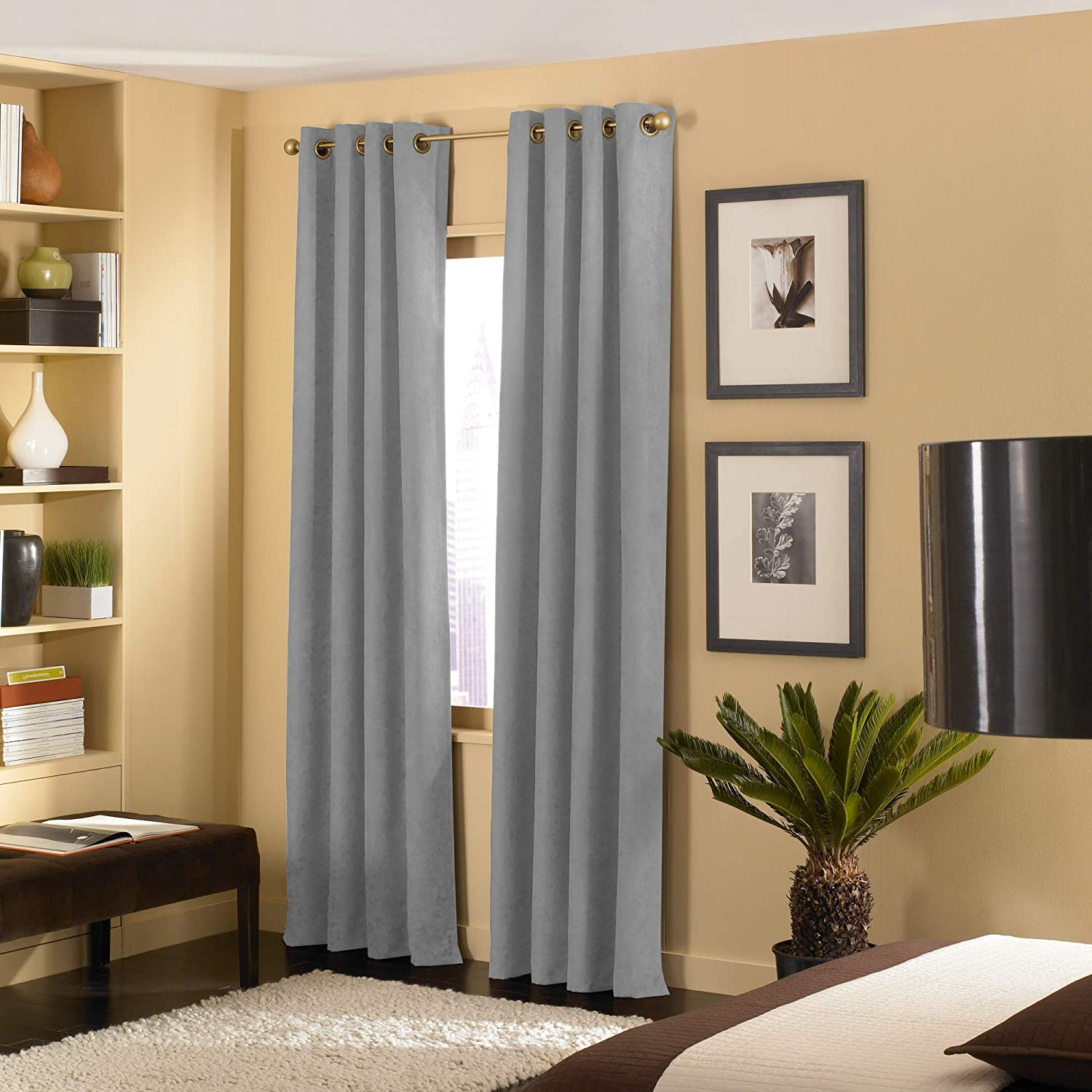 Amazon Com Curtainworks Cameron Grommet Curtain Panel 50 By 108 Pewter Home Kitchen