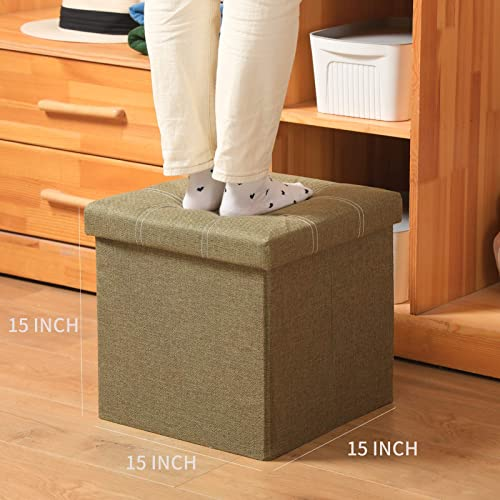 Large Linen Storage Ottoman Cube 2-Pack 15X15X15 Inch Folding Storage Box Chest