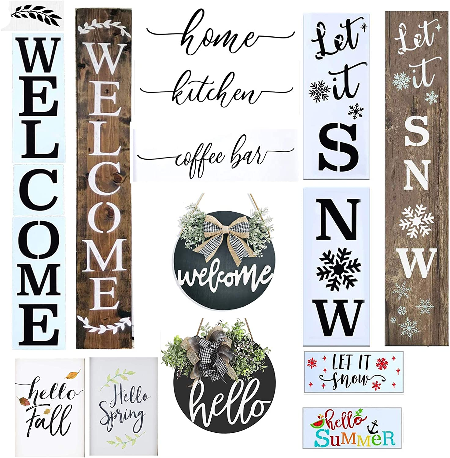 Welcome Stencil for Painting on Wood and More, Reusable Stencils Welcome Home Seasonal Sunflower Dog Paw Sign Stencils, Perfect Fall Decor for Your Home, Front Door, Porch or Outside Decor (14PCS)
