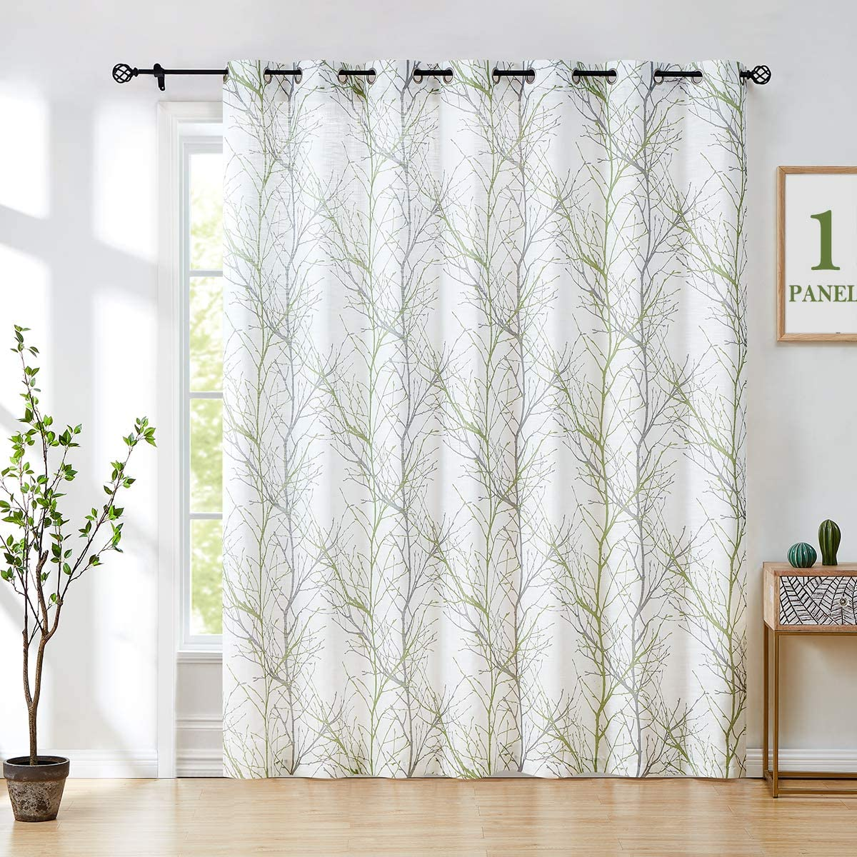 Fmfunctex Green Tree White Sliding Door Curtain Panel 108inches Length Extra Wide 100 w Linen Textured Semi Sheer Curtain for Privacy Patio Door Curtain Panel 1pc Grommet Top 9ft
