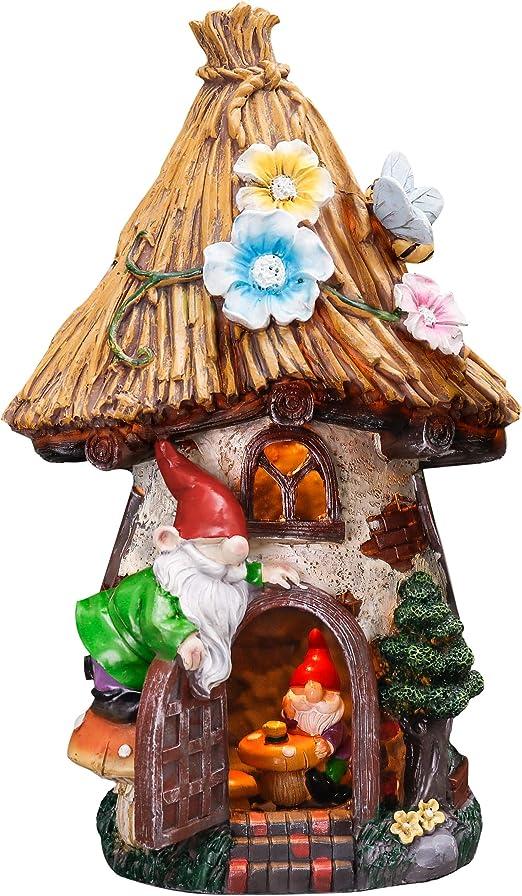 TERESAS COLLECTIONS 31cm Adorno de Jardín Casa de Hadas Luz Solar LED, Decoracion de Jardin de Casa del árbol de Resina con Gnomo y Techo de Paja, Decoracion de Navidad para Hogar: