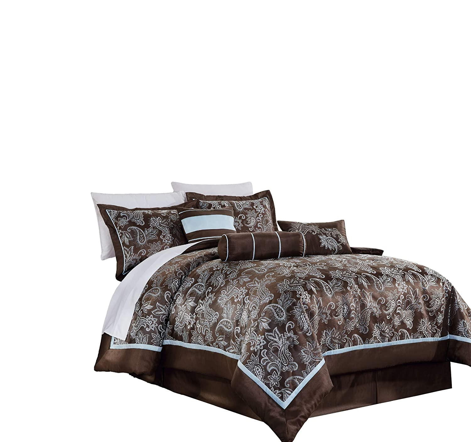 Chezmoi Collection Tuscany 7-Piece Blue Brown Paisley Floral Jacquard Comforter Bedding Set, King Size