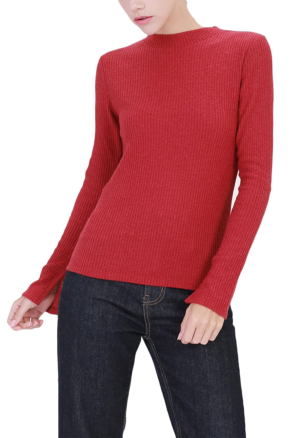 TL Women's Stretchy Solid Basic Long Sleeve Mock Turtleneck Sweater Top TL-MOK2