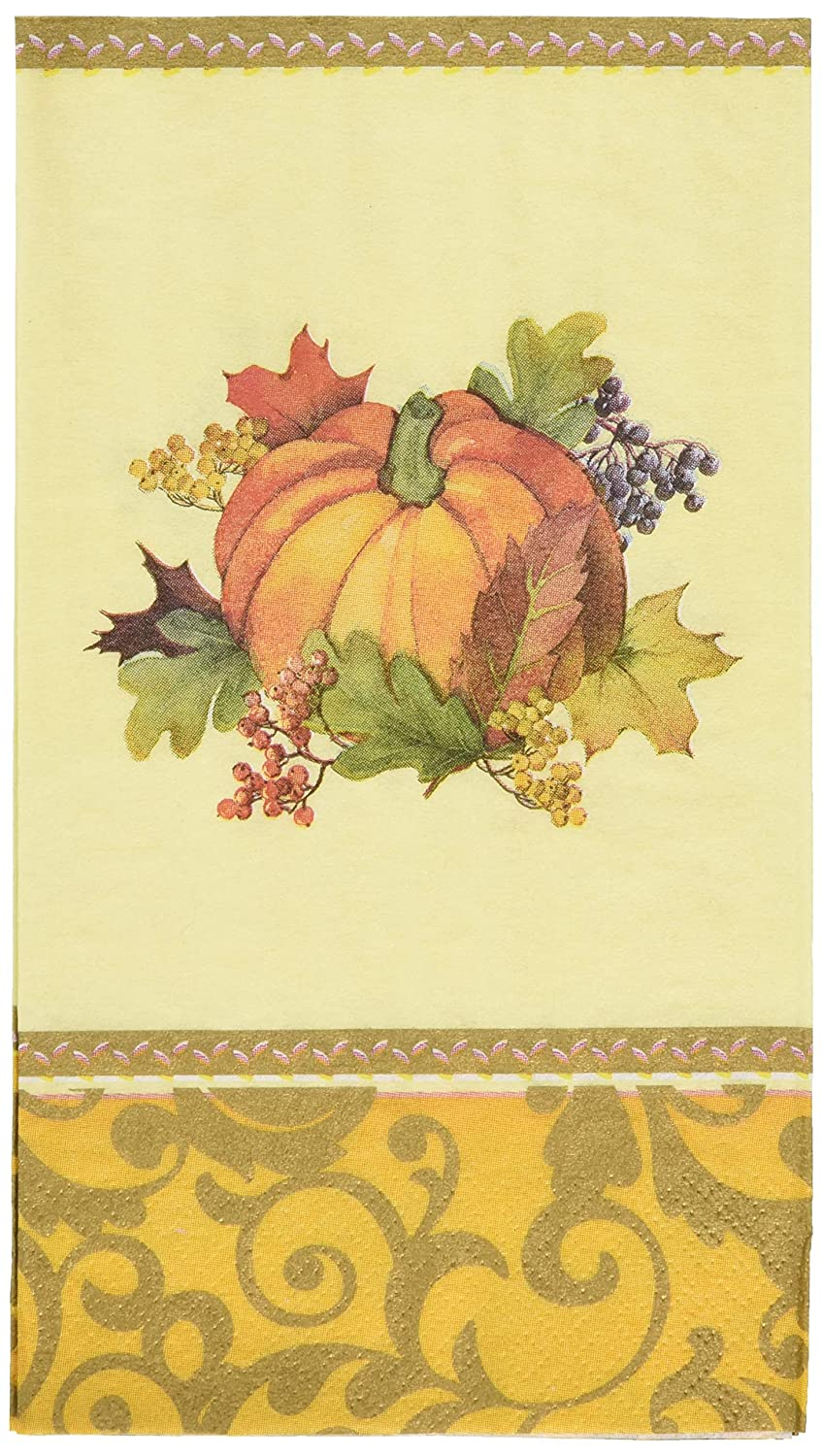 192 Ct. Amscan Bountiful Thanksgiving Multi Colored Paper Guest Towels Party Tableware