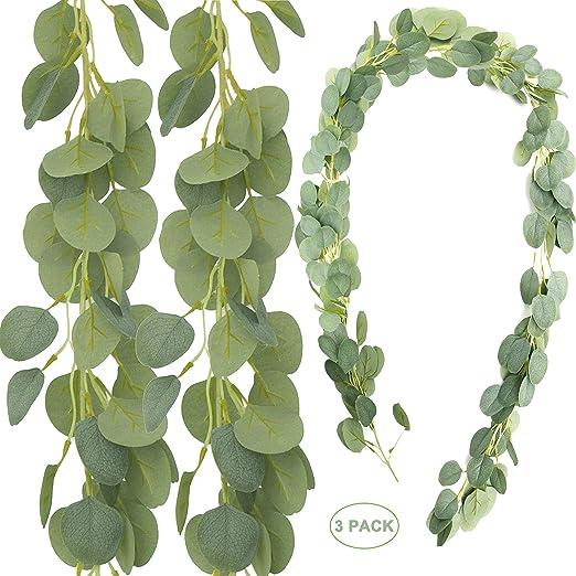 Eucalyptus Garland Leaf Vine Silk Greenery Leaves Wedding Backdrop Green Decor