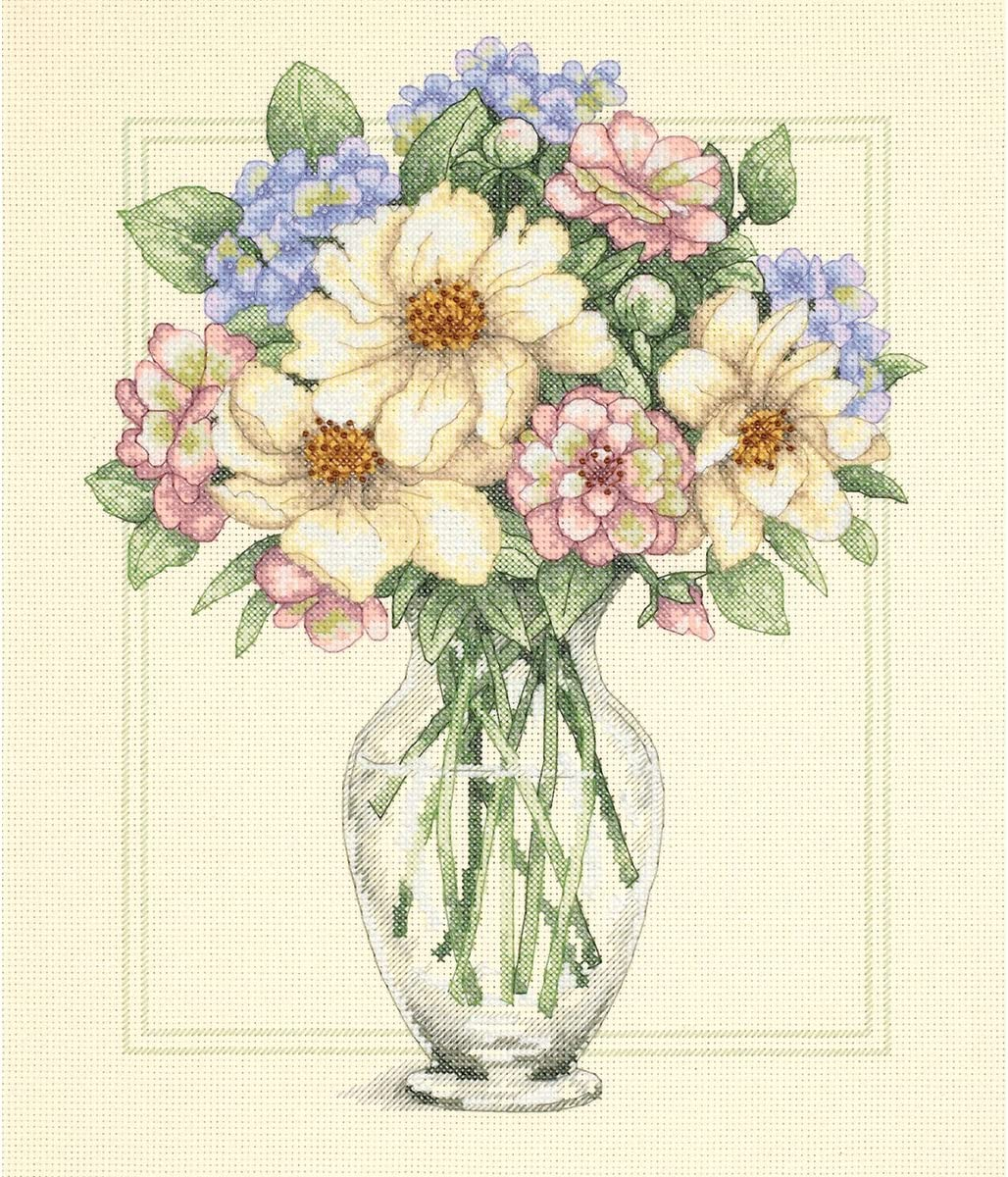 DIMENSIONS Cross Stitch Flowers in Vase, White, Pink, Green, Purple