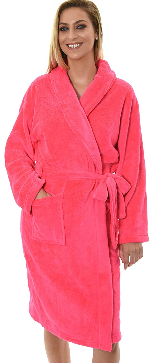 Dannii Matthews Womens Knee Length Corel Fleece Wrapover Dressing Gown, 7 Colours, Small - XXL 79697