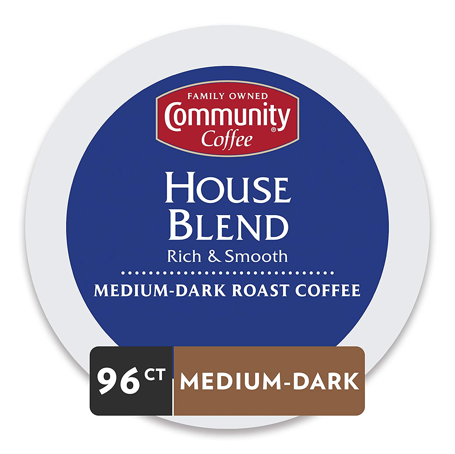 Community Coffee House Blend Single Serve Pods, Compatible with Keurig 2.0 K Cup Brewers, 24 Counts (Pack Of 4)