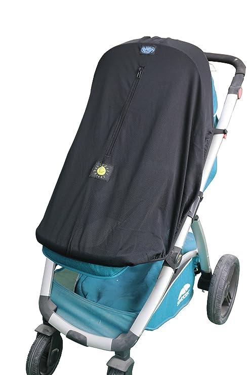 Parasol para carrito de bebé, ajuste universal para cochecitos y carritos de 3 o 4 ruedas. Protección UV negro negro