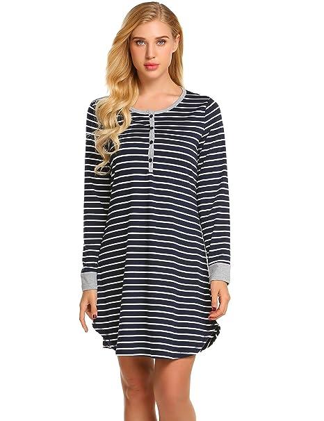 5735e44b556b4 Imposes Women's Maternity Nightdress Cotton Nursing Nightie Breastfeeding  Nightshirt Dress Striped Nightgown S-XXL: Amazon.co.uk: Clothing