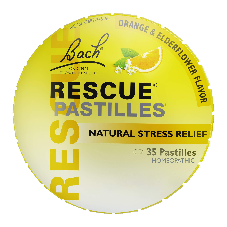RESCUE PASTILLES, Homeopathic Stress Relief, Natural Orange & Elderflower Flavor - 35 count, pack of 1