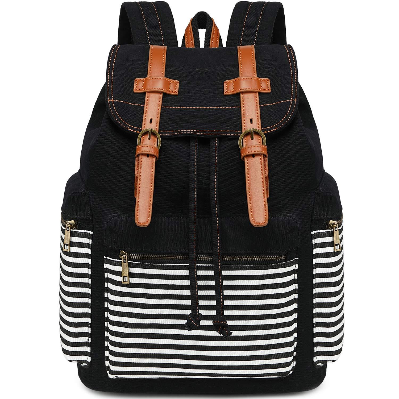 Girls School Backpack Women College Bookbag Canvas Travel Rucksack 15.6Inch Laptop Bag (Black Stripe) by BLUBOON