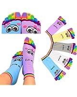 Lystaii 5 Pairs Five Toes Trainer Toe Ankle Socks Girl Women Socks