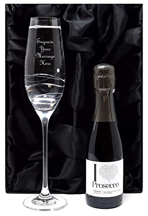 2036a7b9848 Engraved/Personalised Diamante Flute Glass + Miniature Bottle of Prosecco  Sparkling Wine in Silk/Satin Lined Gift Box