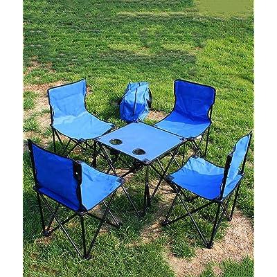 HAIPENG Chaise Pliante Pliable Portable Camping Pique Nique Barbecue Plage De Plein Air Table 4 Ensemble Famille Club Forte Et Solide