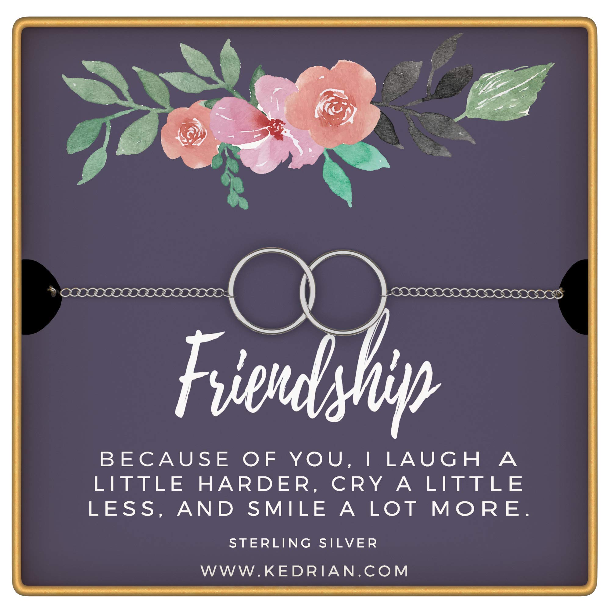 KEDRIAN Friendship Bracelet, 925 Sterling Silver, Friendship Bracelet, Best Friend Bracelet, Friendship Gifts for Women, for Women (Friendship - Purple)