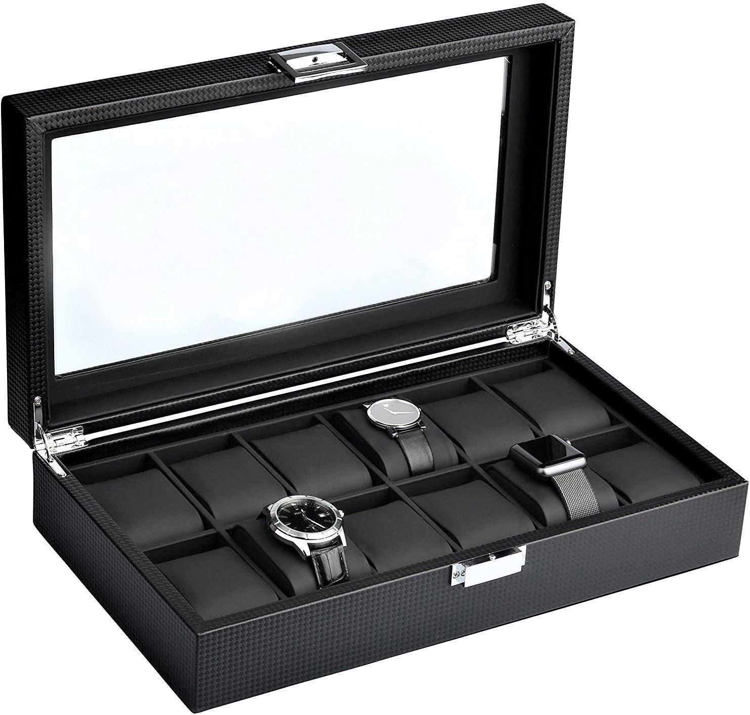 Luxury Black Carbon Fiber 12 Slot Watch//Jewelry Storage Display Case Boxes