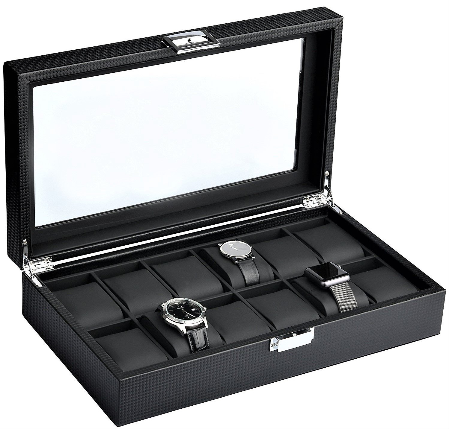 Mantello 12-Watch Display Box Carbon Fiber Design with Glass Top