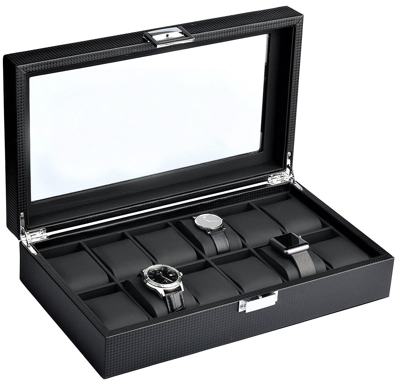Mantello 12-Watch Box Carbon Fiber Design with Glass Top