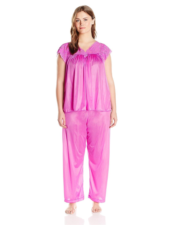 Shadowline Women's Plus Size Silhouette Short Cap Sleeve Pajama Set Shadowline Sleepwear 76737X