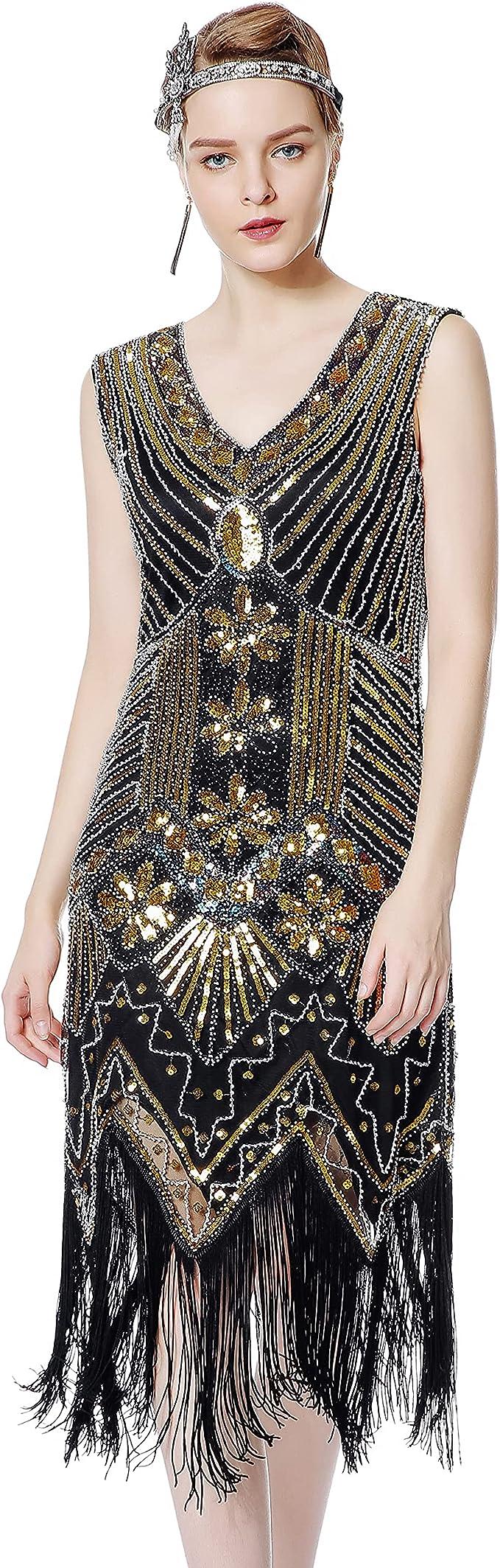 1920s Style Dresses, 20s Dresses Metme Womens Flapper Dress 1920s V Neck Beaded Fringed Gatsby Theme Roaring 20s Dress for Prom  AT vintagedancer.com
