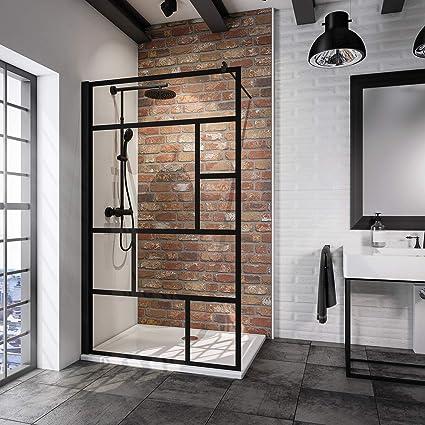 Schulte Paroi De Douche A L Italienne Walk In Verre Decor Serigraphie Atelier Profile Noir 90x200 Cm