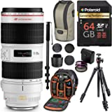 Canon EF 70-200mm f/2.8L IS II USM Telephoto Zoom Lens for Canon SLR Cameras, ManfrottoCompact Light Aluminum Tripod, Ritz Gear Photo Backpack, Monopod, 64GB High Speed SD Card, and Accessory Bundle