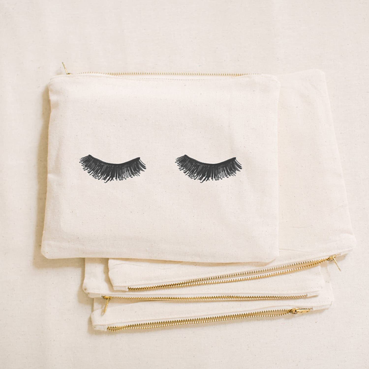 Cosmetic Bag - Eyelashes, Handmade in the USA, make up, pencil case, clutch, wedding favor, present, bridesmaid gift, women's gift