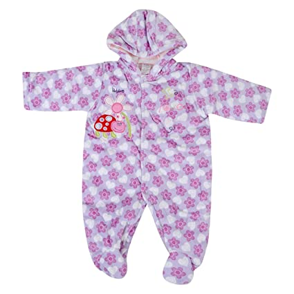 56db32fb902e Baby Grow Coral Fleece Winter Boy Girl Hooded Rompers Suit Cartoon ...