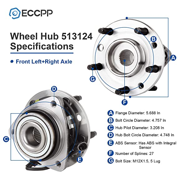 ECCPP Replacement For Front Wheel Hub Bearing For Chevy Blazer S10 GMC Jimmy 4WD 4x4 AWD W ABS 513124