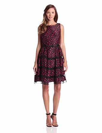 Taylor Dresses Women's Dotted Organza Inset Party Dres, Black/Fuchsia, 6 Missy