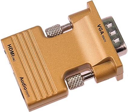 Tenlacum 1080P HDMI femelle vers VGA m/âle Adaptateur convertisseur avec 3,5 mm Sortie audio coque en aluminium