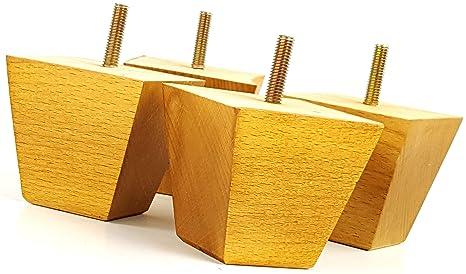 Knightsbrandnu2u 4 x piedini per mobili in legno per mobili gambe