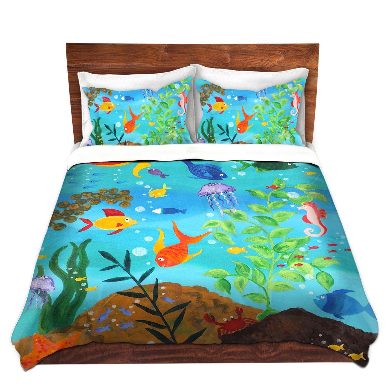 DiaNoche Designs Enjoy Art-Happy Fish III Brushed Twill Home Decor Bedding Cover, 8 King Duvet Sham Set