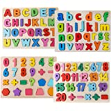 Alphabet Puzzles for Toddlers, Wooden ABC Number Shape Puzzles for Kids Ages 2 3 4 5, Educational Learning Preschool…