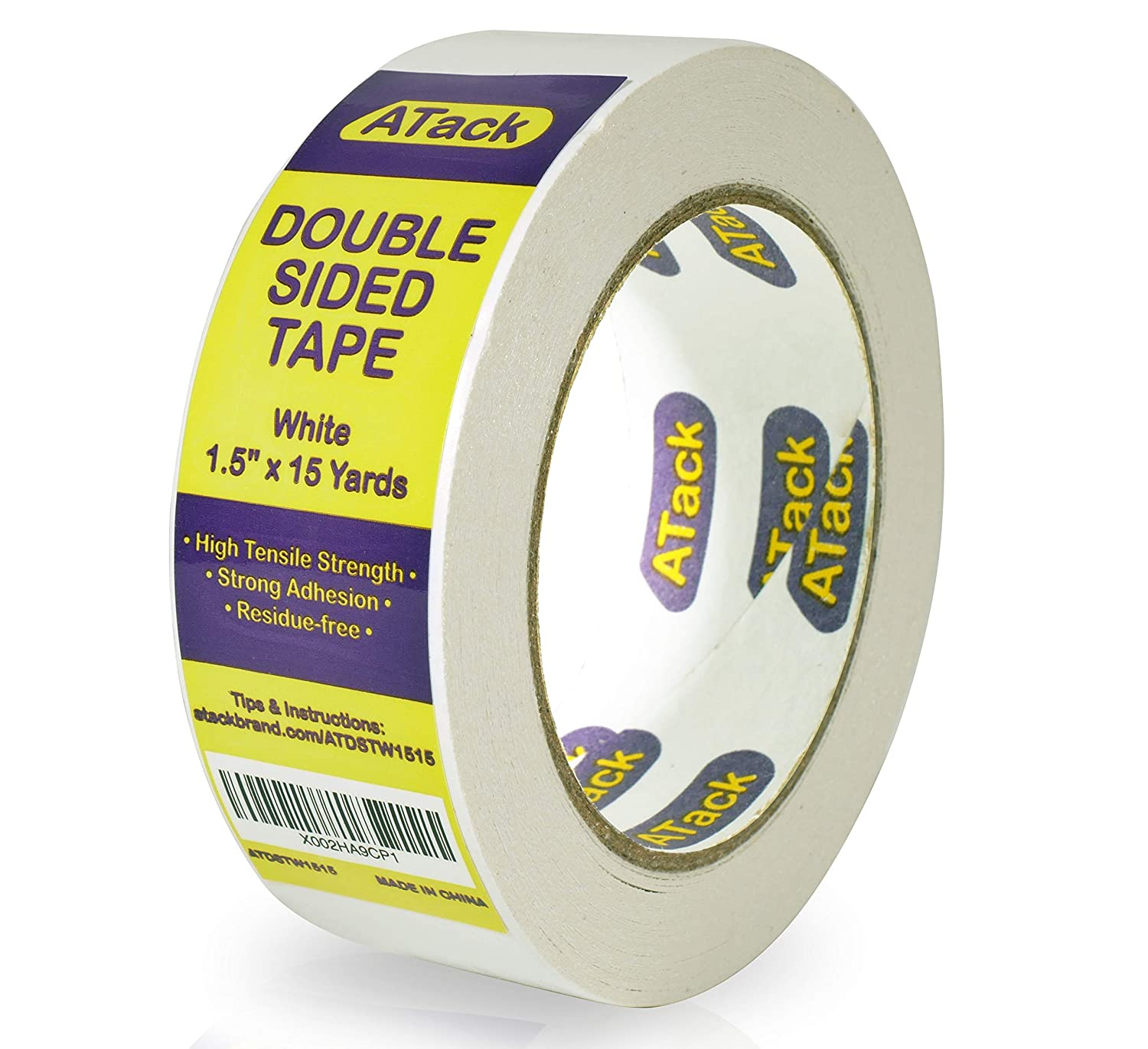 ATack Double-Sided Tape White, 1.5 Inches x 15 Yards, Heavy Duty Double Sides self Sticky Wall Fabric Tape for Wood Templates, Furniture, Leather, Curtains and Craft