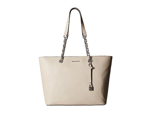 1da144b0993234 Amazon.com: Michael Kors Womens Mercer Leather Pebbled Tote Handbag Gray  Large: Clothing