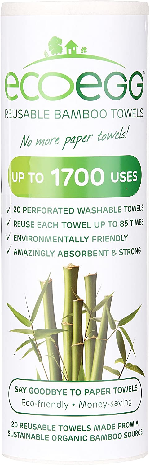 EcoEgg bamboo towels are high quality towels that are good for over 1700 uses every roll