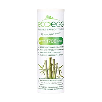 Ecoegg servilletas de Tela Reutilizables de Fibra de bambú, Color Blanco: Amazon.es: Hogar